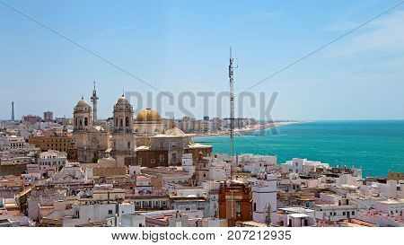 View of City of Cadiz and catheral domes, Spain