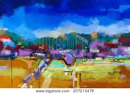 Abstract oil painting landscape. Colorful blue purple sky. Oil painting outdoor landscape on canvas. Semi abstract tree hill and field meadow. Sunset fall season landscape nature background