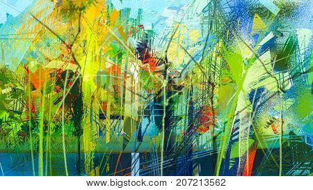 Abstract colorful oil painting on canvas texture. Hand drawn brush stroke oil color paintings background. Modern art oil paintings with green red and blue. Abstract contemporary art for background