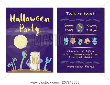 Halloween party invitation with zombies hands in graveyard at full moon. Halloween event advertising with funny undeads, festive cute carnival poster. Walking dead in cemetery vector illustration.
