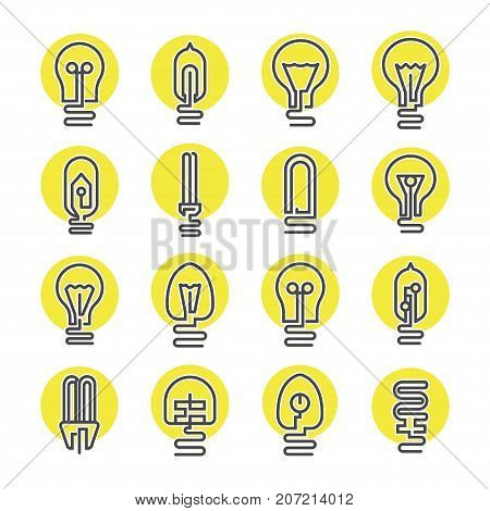 Light bulb and LED lamp icon set in modern thin line style. Electrical equipment, lamp collection. Simple light bulb pictograms isolated on white background vector illustration.