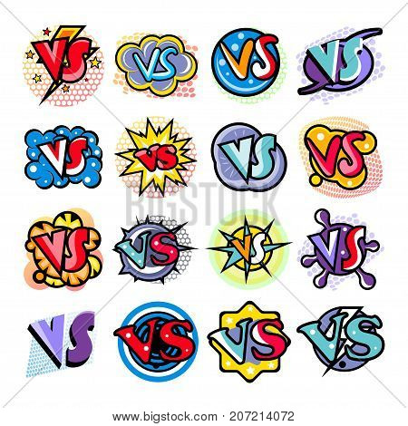 Confrontation versus comic speech bubble cartoon set isolated on white background vector illustration. Fight opposition symbol, VS bright colorful element collection in pop art style.