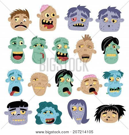 Funny zombie avatar icon set in cartoon style. Halloween undead sign, horror monster heads collection, zombie apocalypse concept, cute man isolated on white background vector illustration