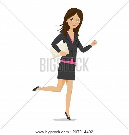 Businesswoman working cartoon character person in office work situations. Young girl office worker office clothes, with documents in hands, woman in hurry, running, late on work. Vector illustration.