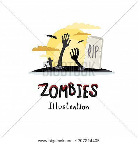 Zombie hands sticking out from ground in cartoon style. Undead arises on cemetery poster, horror monster, zombie apocalypse concept, walking dead isolated on white background vector illustration.