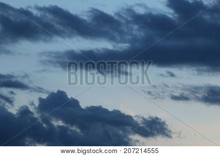 Dark sky with storm clouds, Dramatic black cloud and thunderstorm