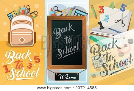Back to school card set with school supplies. Greeting card design, education template of flyer. Chalkboard, backpack, textbook, pencil, calculator, notebook, scissors, ruler vector illustration.