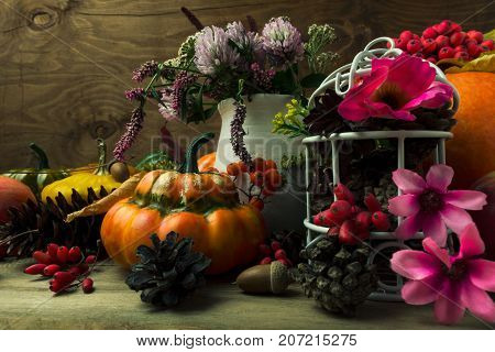 Thanksgiving Arrangement With Pink Flowers Decorated Birdcage, Toned