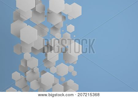 White Hexagons Of Random Size On Blue Background