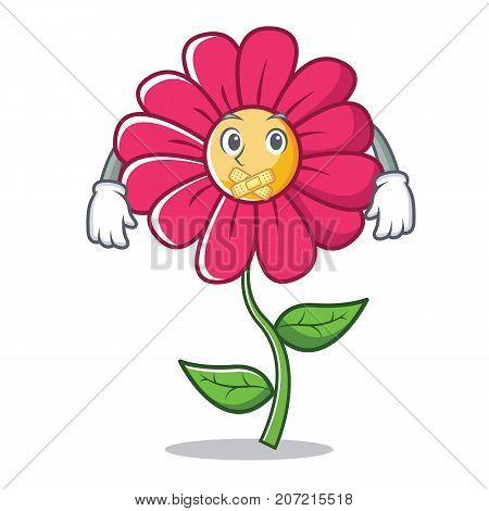 Silent pink flower character cartoon vector illustration