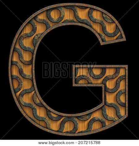 3D render of wood and corroded metal textured alphabet capital letter G