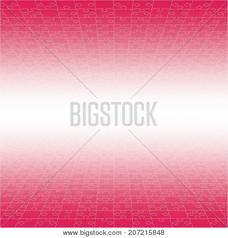 Perspective Pink Puzzles Pieces - Vector Illustration. Jigsaw Puzzle Blank Template. Vector Background.