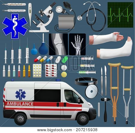 Great medical set. Wide variety of subjects, tools, medicines, ambulance, diagnostics and treatment. Realistic images. Vector illustration