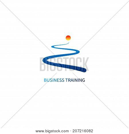 Logo business training. Icon development. Road and sun. Symbol coaching. Vector illustration
