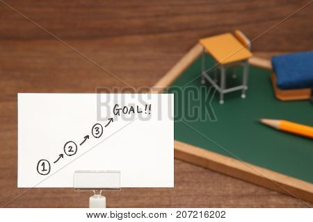 Start and Goal written on paper with the study tool as the background. Concept of step up of learning.