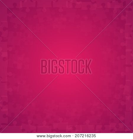 Pink Transparent Puzzles Pieces - Vector Illustration. Scattered Jigsaw Puzzle Blank Template. Vector Background.