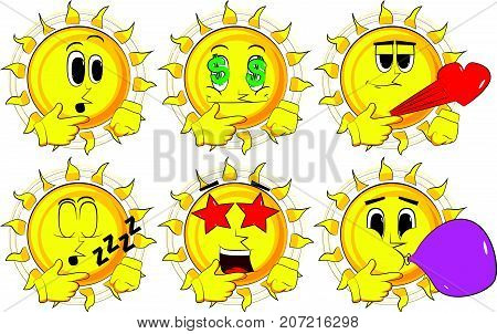 Cartoon sun thinking or pointing to his left side. Collection with various facial expressions. Vector set.