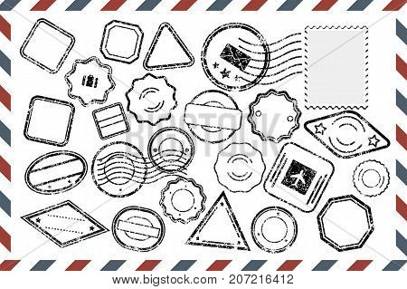 Composition with collection of grungy stamps template on rectangular postal envelope. Postal Stamps set in different shapes. Vector illustration