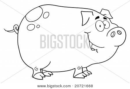 Black And White Smiling Piggy Cartoon Character poster