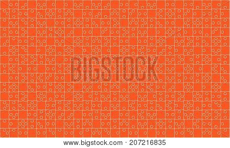 375 Orange Material Design Puzzles Pieces - Vector Illustration. Jigsaw Puzzle Blank Template or Cutting Guidelines. Vector Background.