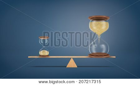 3d rendering of a small hourglass balances on a seesaw against a large hourglass in a perfect balance. Time and productivity. Never waste time. Work for result.
