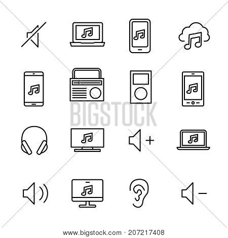 Simple collection of mobile music related line icons. Thin line vector set of signs for infographic, logo, app development and website design. Premium symbols isolated on a white background.