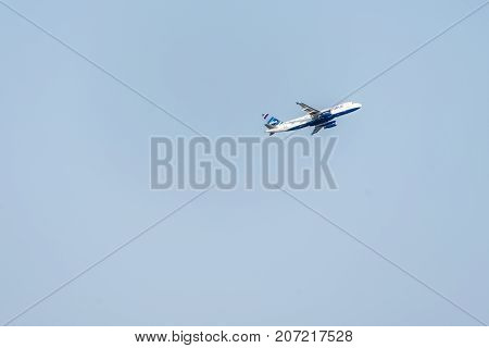 BOSTON USA 06.09.2017 Airline jetblue airplane take off at Logan International Airport Massachusetts, USA cloudy sky