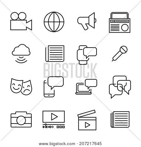 Simple collection of mass media related line icons. Thin line vector set of signs for infographic, logo, app development and website design. Premium symbols isolated on a white background.