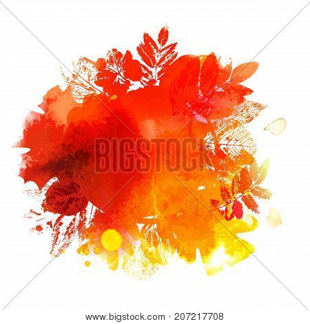 Autumn Vector background with ink stamp leaves and painted watercolor splash. Abstract Season circle Frame. Hand drawn illustration for banners, posters.