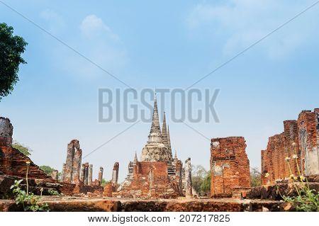 Thailand. Historical Park Phra Nakhon Si Ayutthaya. Temple Pagoda in Ayutthaya (Wat Phra Si Sanphet)