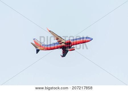 BOSTON USA 06.09.2017 - Southwest Airlines Boeing 737start takeoff at Logan International Airport