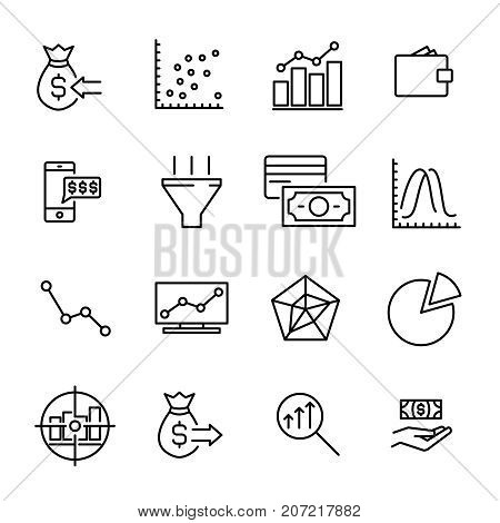 Simple collection of investments related line icons. Thin line vector set of signs for infographic, logo, app development and website design. Premium symbols isolated on a white background.