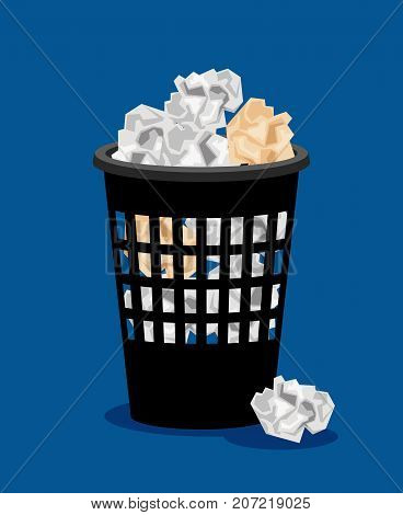 Garbage bin and crumpled papers vector illustration. Office trash can or paper basket