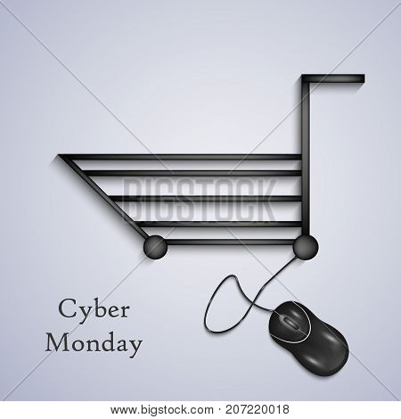 illustration of mouse, and shopping trolley with Cyber Monday text on the occasion of Cyber Monday