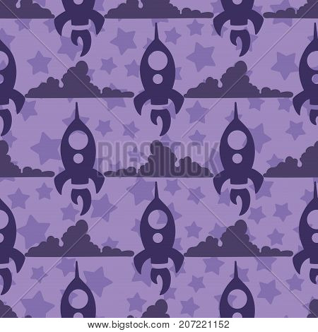 simple children seamless pattern with dark violet rocket and clouds violet stars on a light violet background