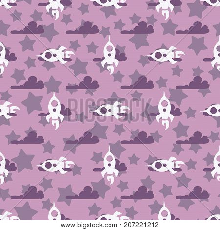 simple children seamless pattern with white rockets dark violet clouds violet stars on a light violet background