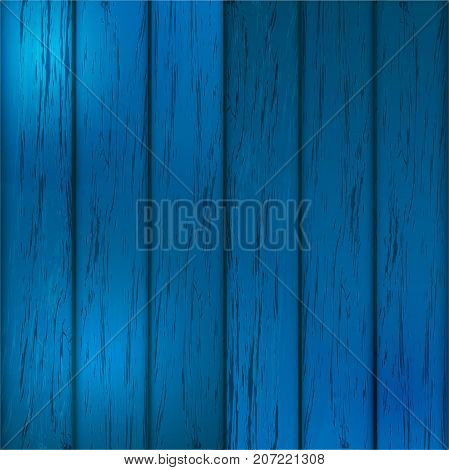 Wood Background. Colored wooden texture. Blue color. Realistic wood structure. Vector Illustration