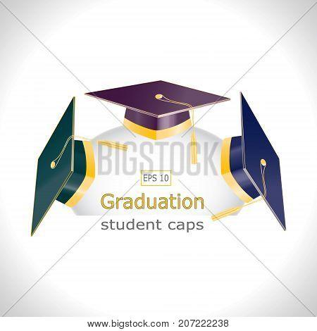 Three graduation student caps with golden elements. Set lines illustrations