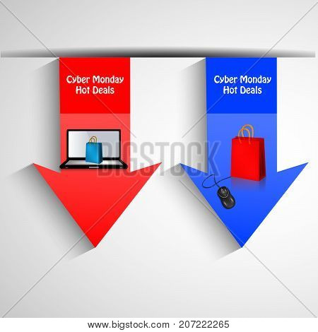 illustration of arrows in computer, mouse and shopping bags background with Cyber Monday Hot Deals text on the occasion of Cyber Monday
