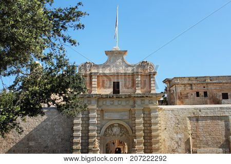 Main entrance gate of Mdina in Malta. Mdina is ancient capital of Malta .