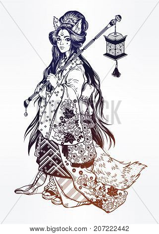 Beautiful demon kitsune as geisha in ornate ethnic floral kimono, cute lantern. Geisha portrait anime style. Japan. Asia. Asian beauty. Magic tattoo art, coloring books. Isolated vector illustration.