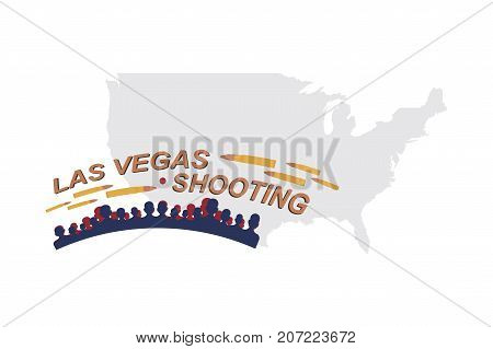 Las Vegas Shooting. Concept Of Terrorism And The Memory Of The Dead. Silhouette Of People And Bullet