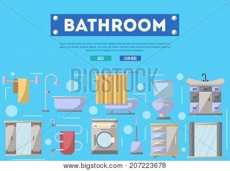 Bathroom furniture renovation poster with washing machine, shower cabin, toilet, table, bathtub, towel dryer, washbasin elements. Home interior design, modern apartment decoration vector illustration