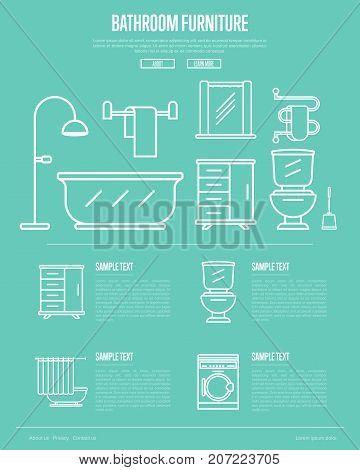 Bathroom furniture poster with washing machine, shower cabin, toilet, bathtub, towel dryer, washbasin elements linear style. Home interior design, modern apartment decoration vector illustration.