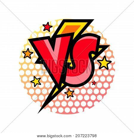 Versus comic speech bubble in cartoon style. Fight opposition symbol, VS bright colorful element vector illustration