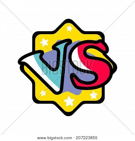 VS versus mark in cartoon style. Fight opposition symbol, VS bright colorful element vector illustration