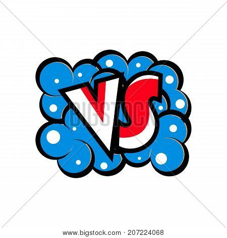 Versus letters logo in cartoon style. Fight opposition symbol, VS bright colorful element vector illustration