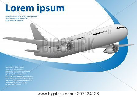 Tourism theme banner with airplane for travel agency. Template with airplane and copy space. Vector illustrations EPS 10