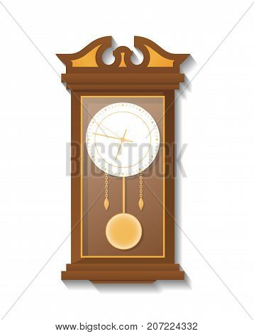 Antique wooden pendulum clock icon. Analog chronometer isolated vector illustration in flat style.