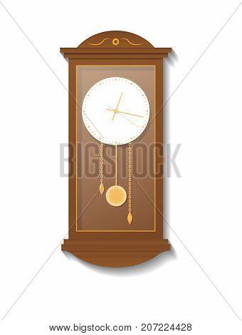 Retro wooden pendulum clock icon. Analog chronometer isolated vector illustration in flat style.